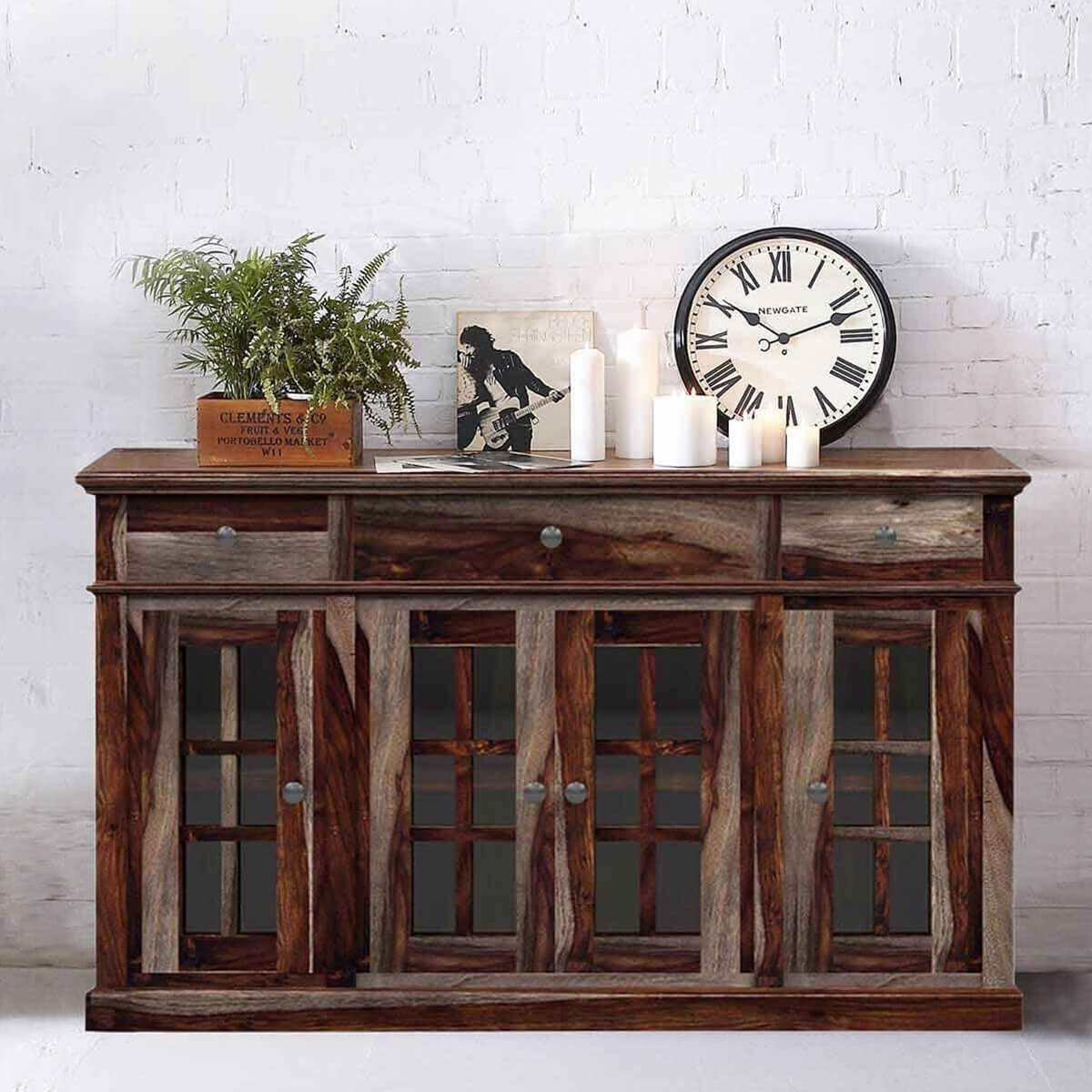 Texas Solid Wood Rustic Sideboard Contemporary Buffet