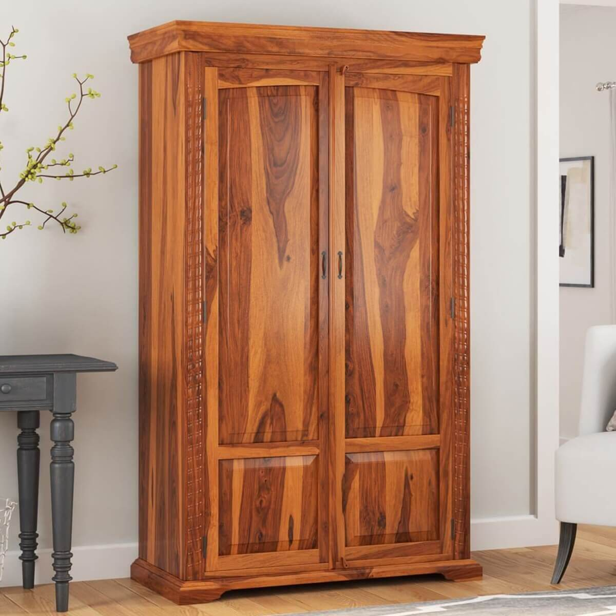 Wooden Wardrobe Cabinet ~ Empire traditional solid wood armoire wardrobe cabinet