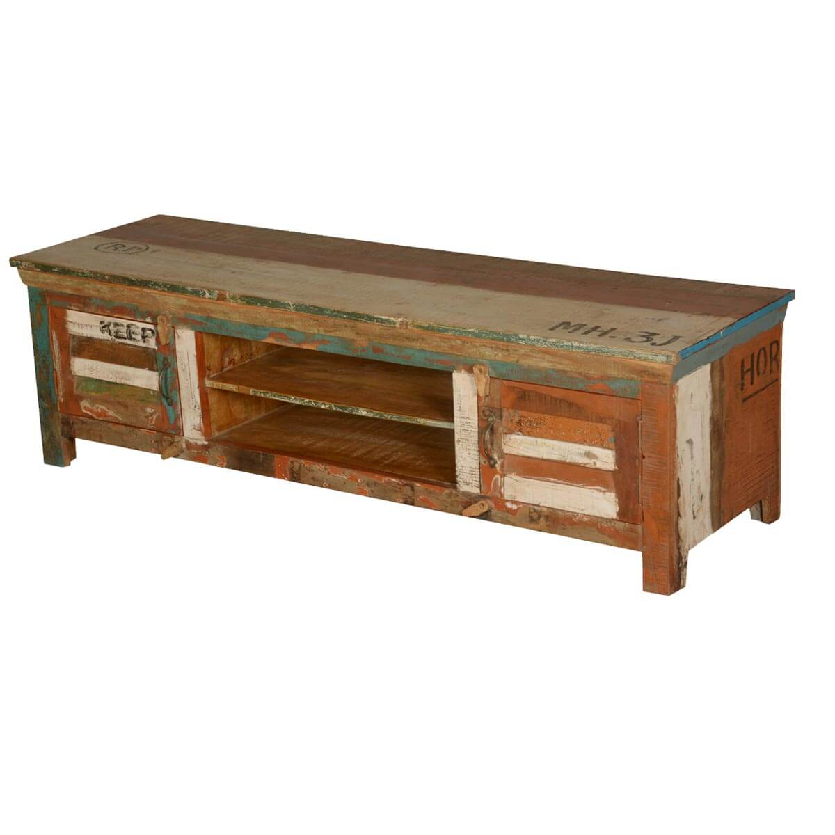 Reclaimed Media Cabinet Appalachian Rustic Shutter Doors Reclaimed Wood Tv Stand Media Console