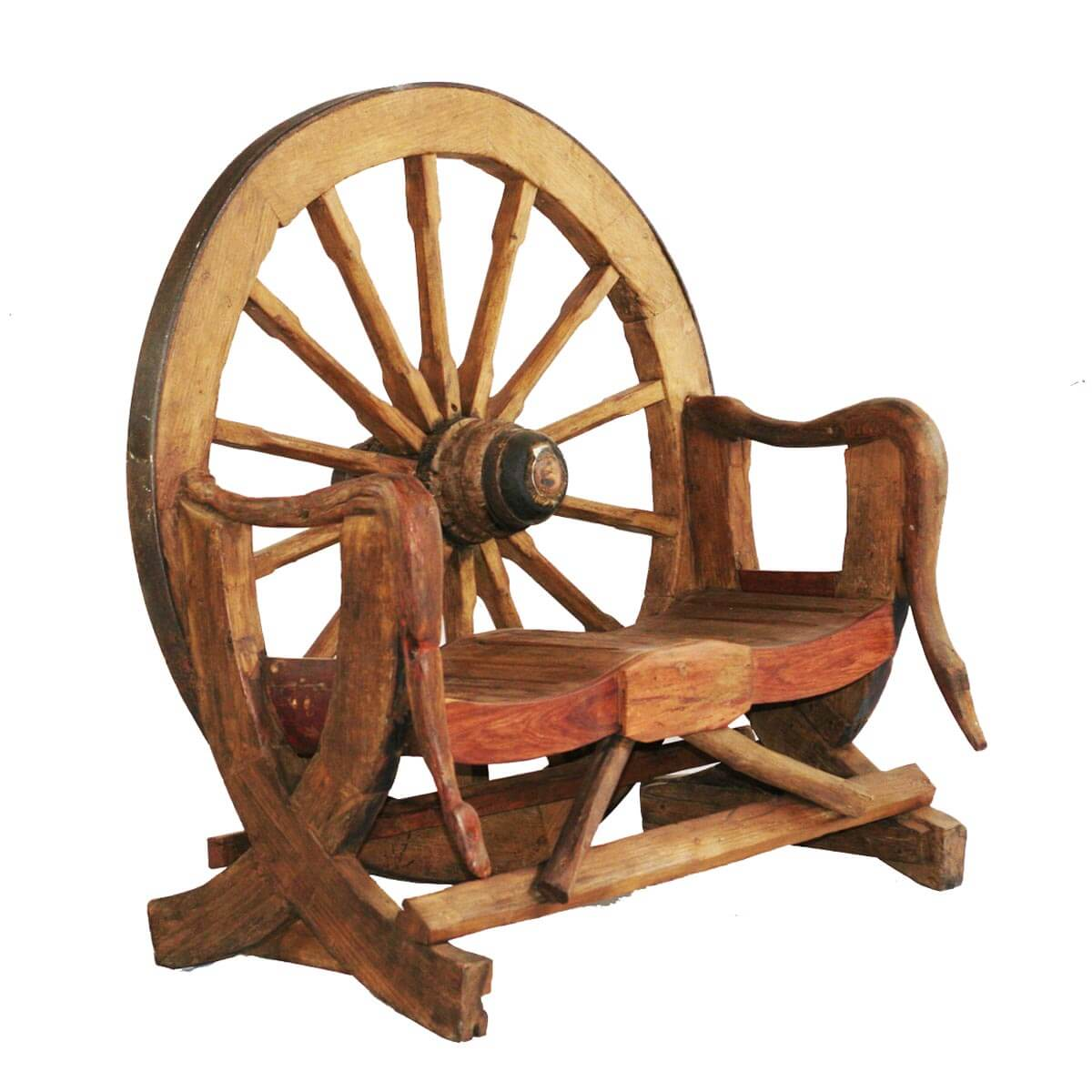 Wagon Wheel Teak Wood Novelty Garden Bench