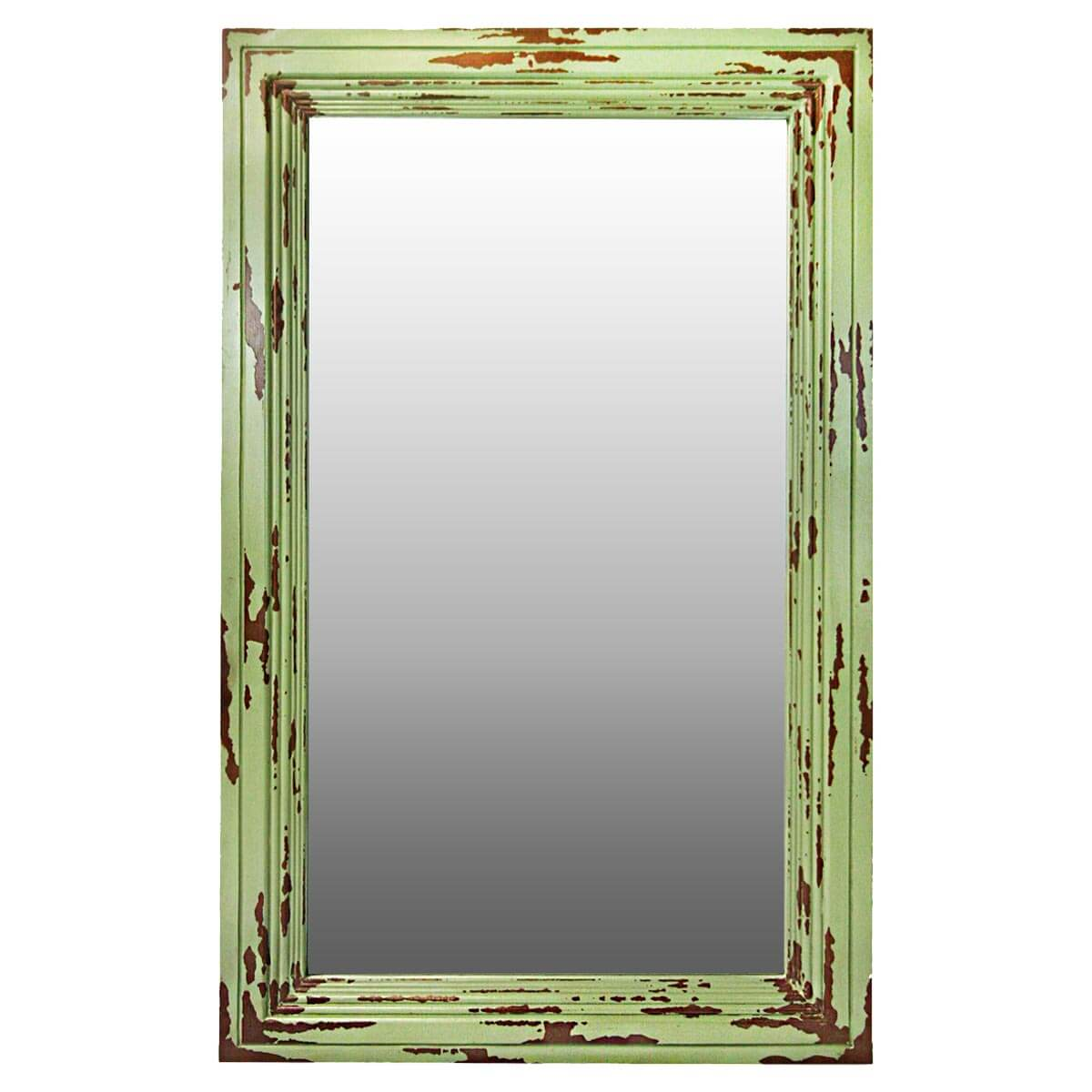 Frontier Rustic Acacia Wood Green Distressed Wall Mirror Frame
