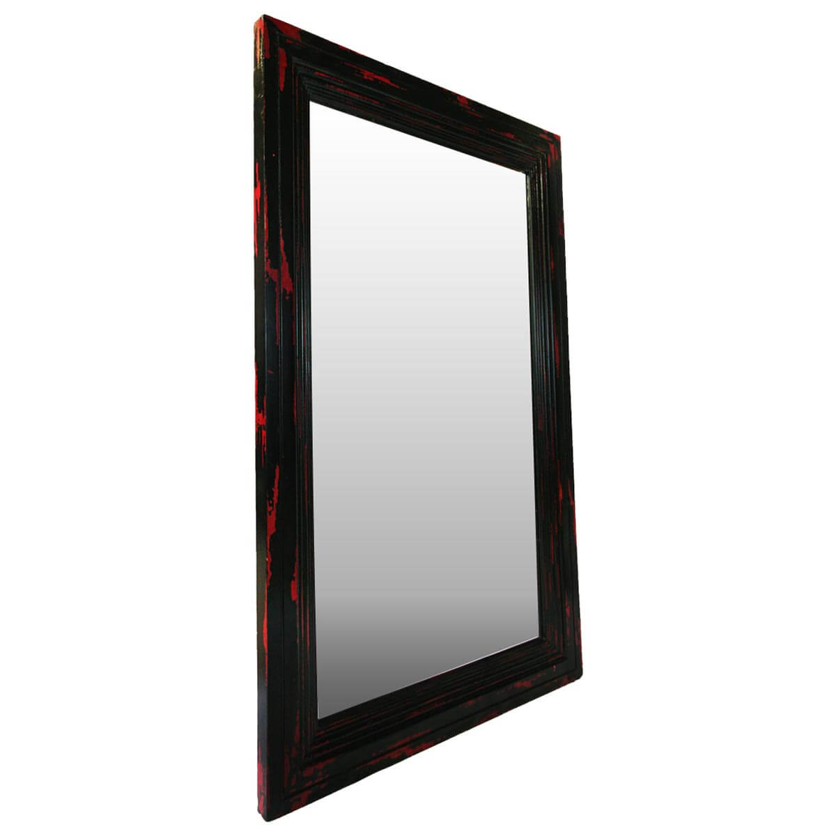 Frontier Rustic Acacia Wood Red & Black Distressed Wall Mirror Frame