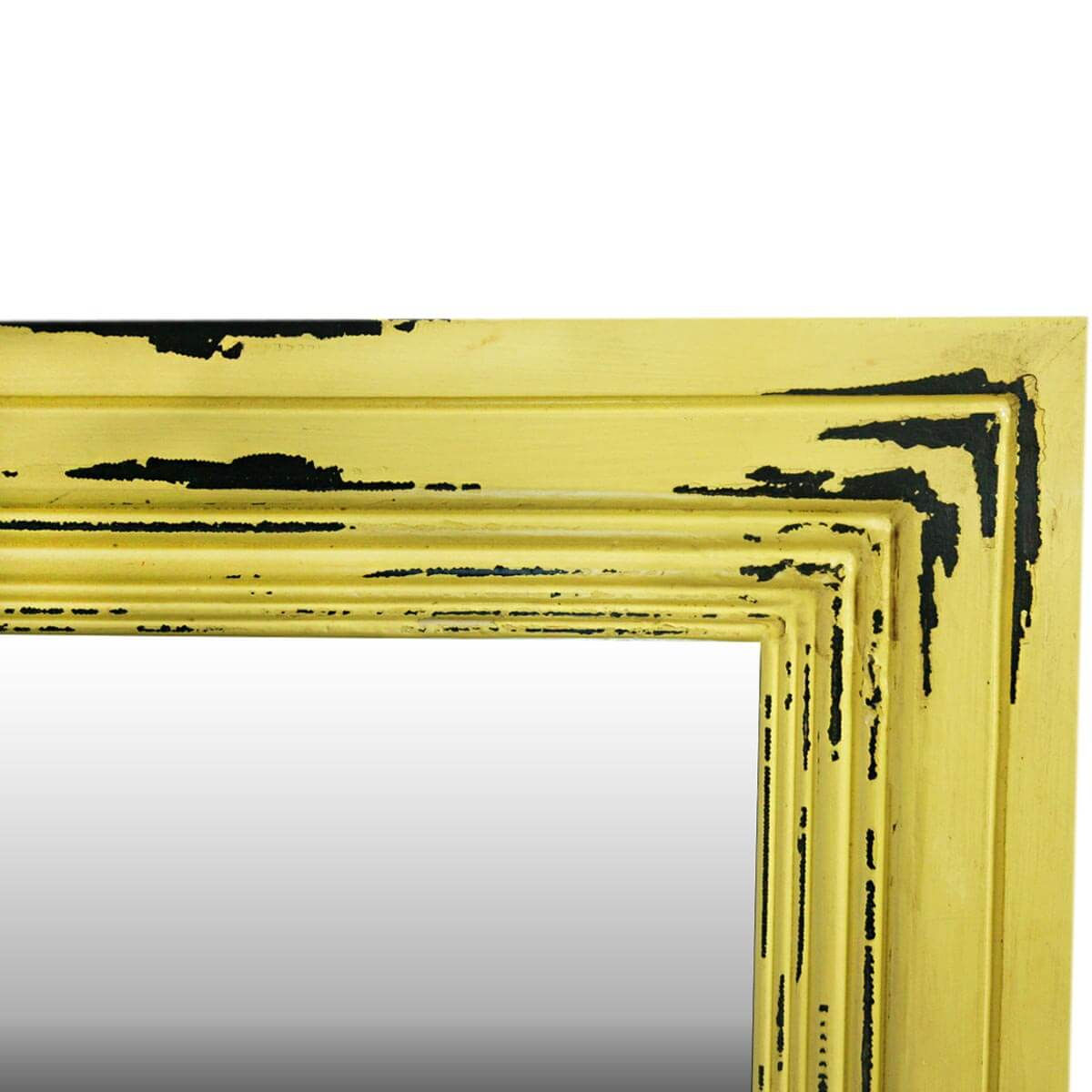 Frontier Rustic Acacia Wood Yellow Distressed Wall Mirror Frame