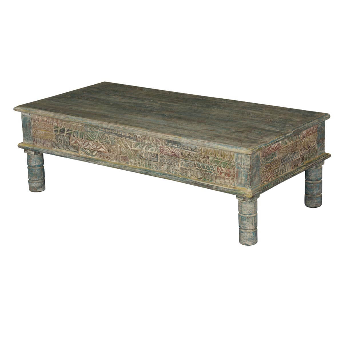 Tapestry Hand Carved Reclaimed Wood Coffee Table