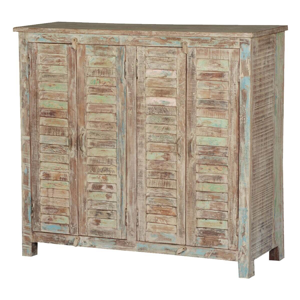shutter door reclaimed wood sideboard cabinet - frosted shutter door reclaimed wood sideboard cabinet