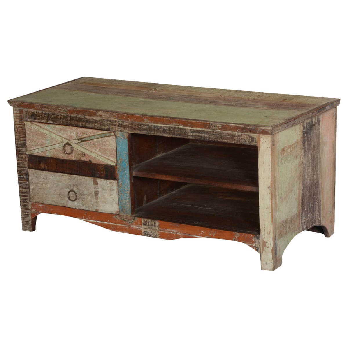 Eco Green Rustic Reclaimed Wood Tv Console Media Center