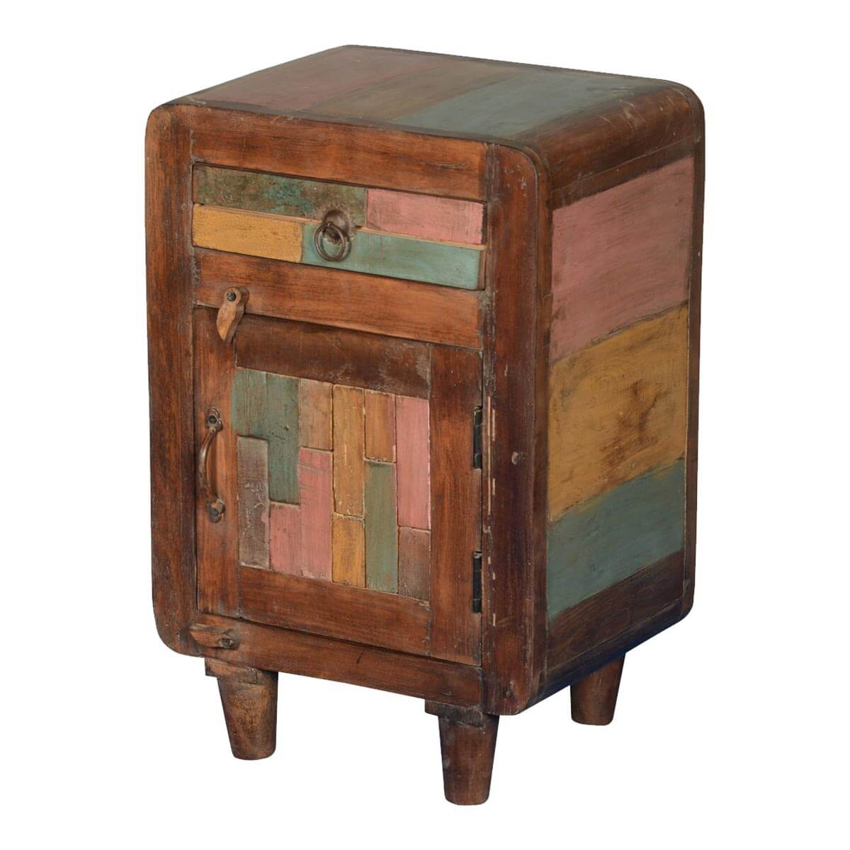 Fresh Rainbow Patches Reclaimed Wood Nightstand End Table Cabinet EL14