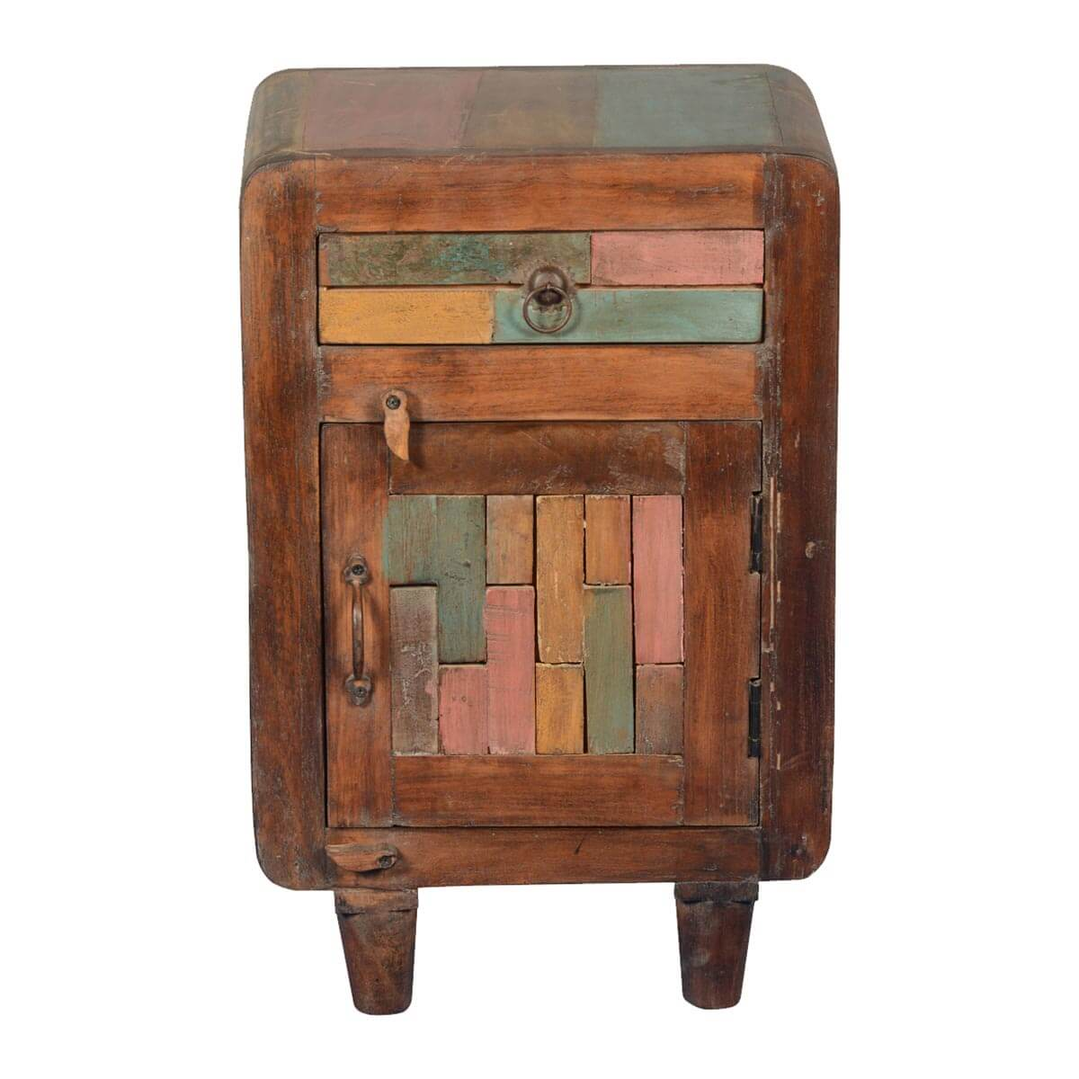 Rainbow Patches Reclaimed Wood Nightstand End Table Cabinet - Patches Reclaimed Wood Nightstand End Table Cabinet