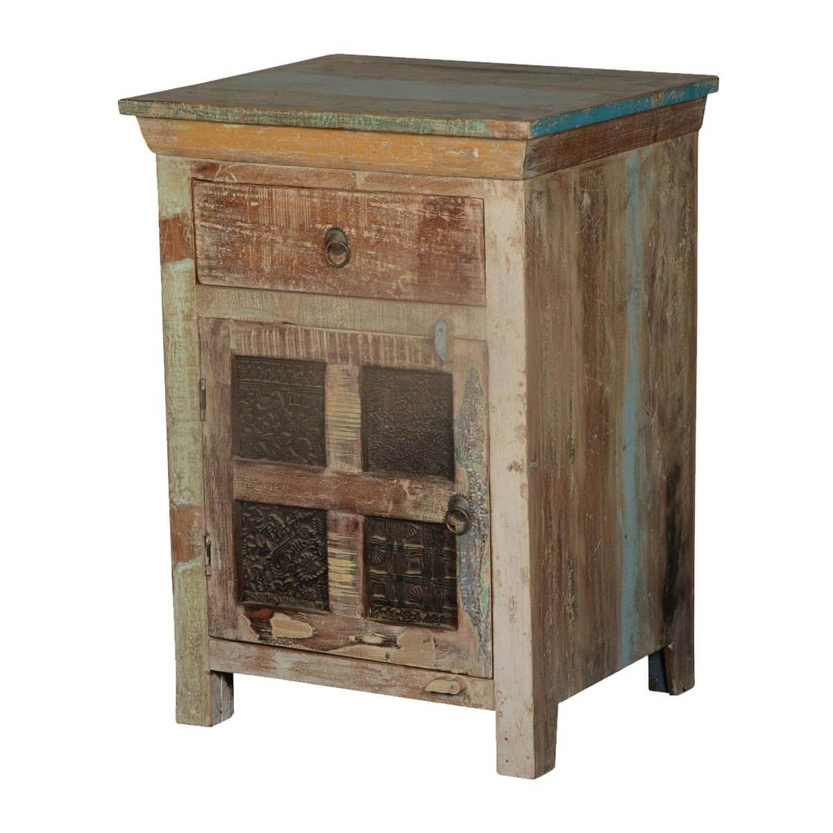 reclaimed wood end table Maquon Rustic Wooden Windows Reclaimed Wood 1 Drawer Nightstand reclaimed wood end table