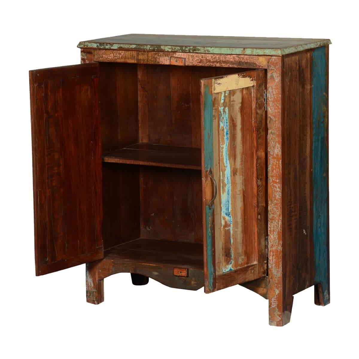 Rustic Foyer Chest : Warren rustic reclaimed wood double door console hall cabinet