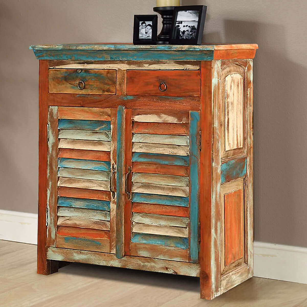 Bartons rustic reclaimed wood freestanding drawer buffet