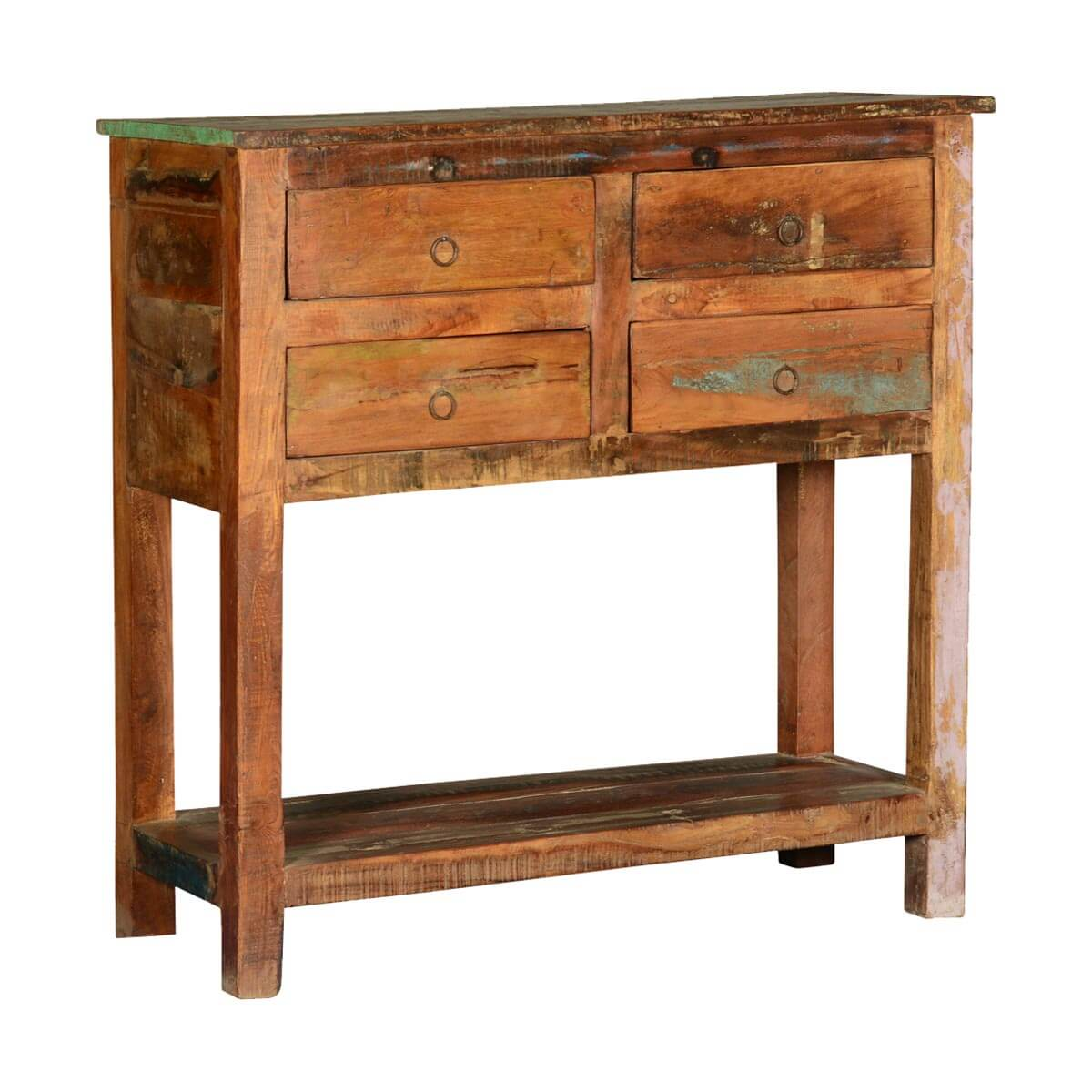 Rustic Wood Foyer Table : Frontier rustic reclaimed wood hall console table w drawers