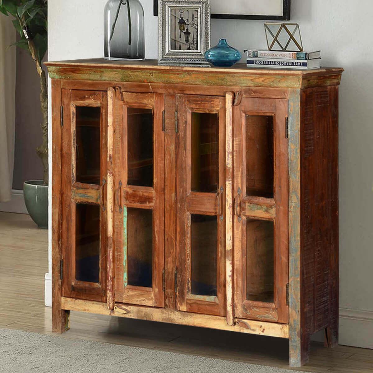 Appalachian Rustic Reclaimed Wood Glass Door Display