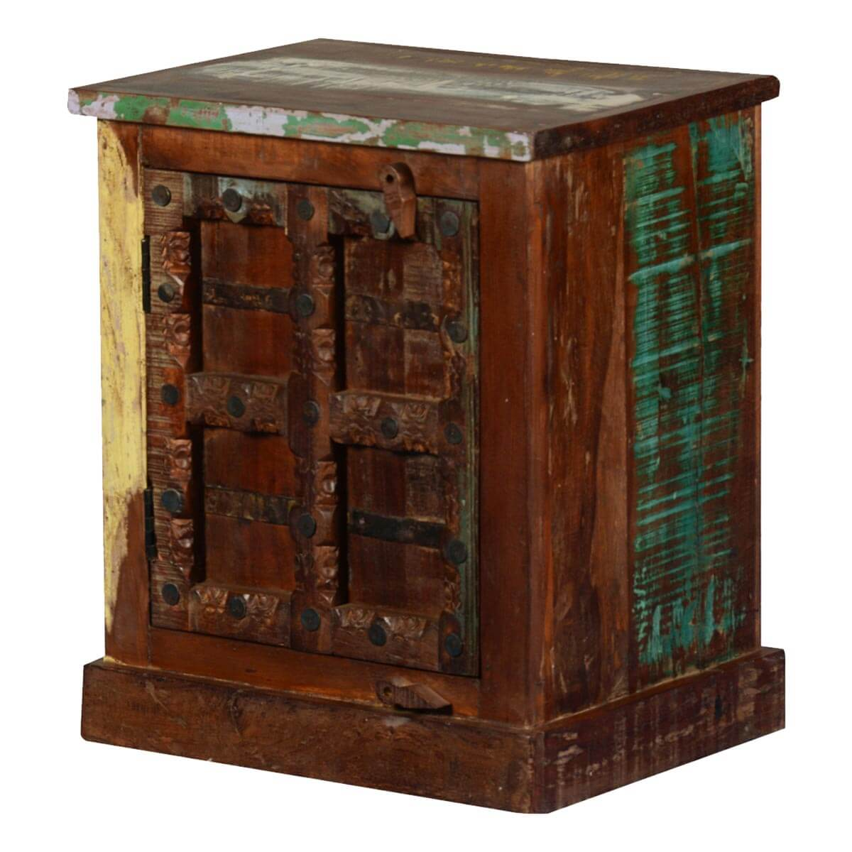 Gothic rustic reclaimed wood nightstand end table cabinet for Rustic wood nightstand