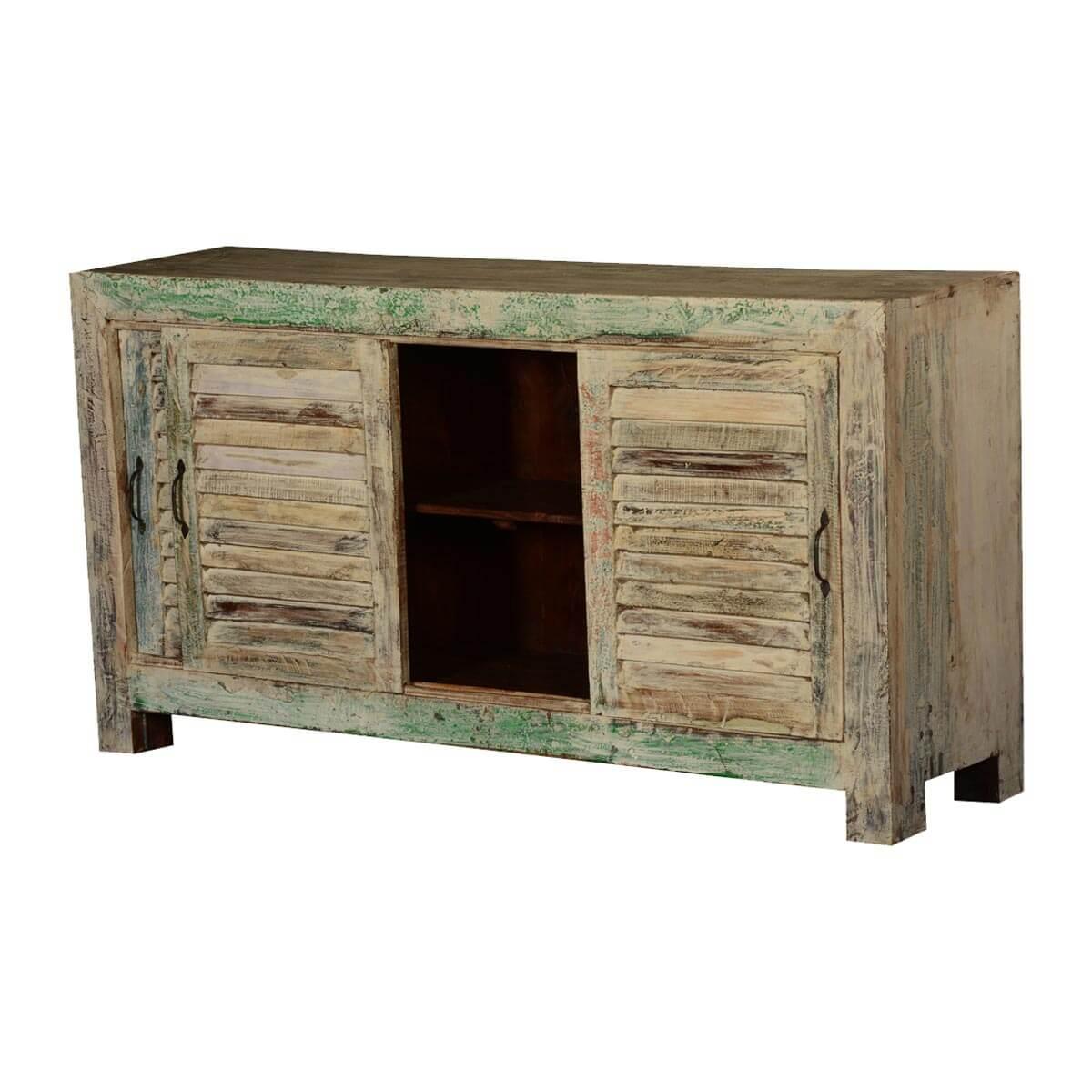 Winter White Rustic Reclaimed Wood Sliding Door Buffet Cabinet