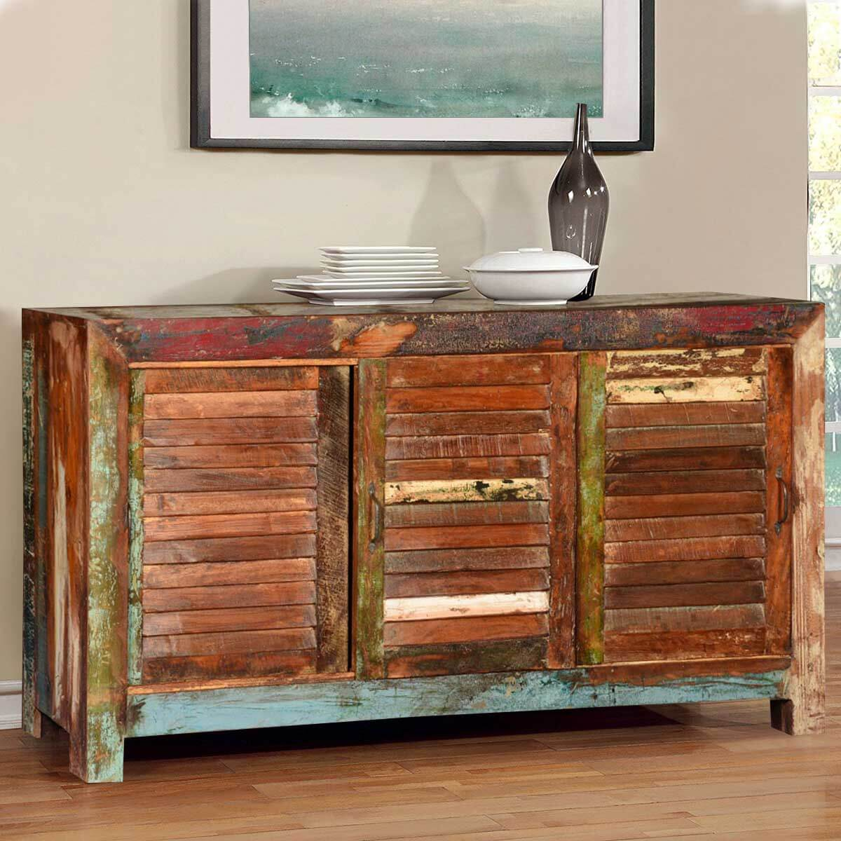 Frontier shutter door reclaimed wood buffet cabinet
