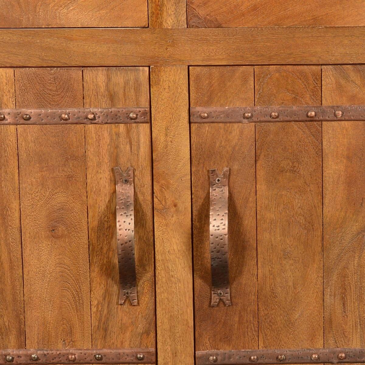 Modern Farmhouse Solid Mango Wood Freestanding Sideboard Cabinet