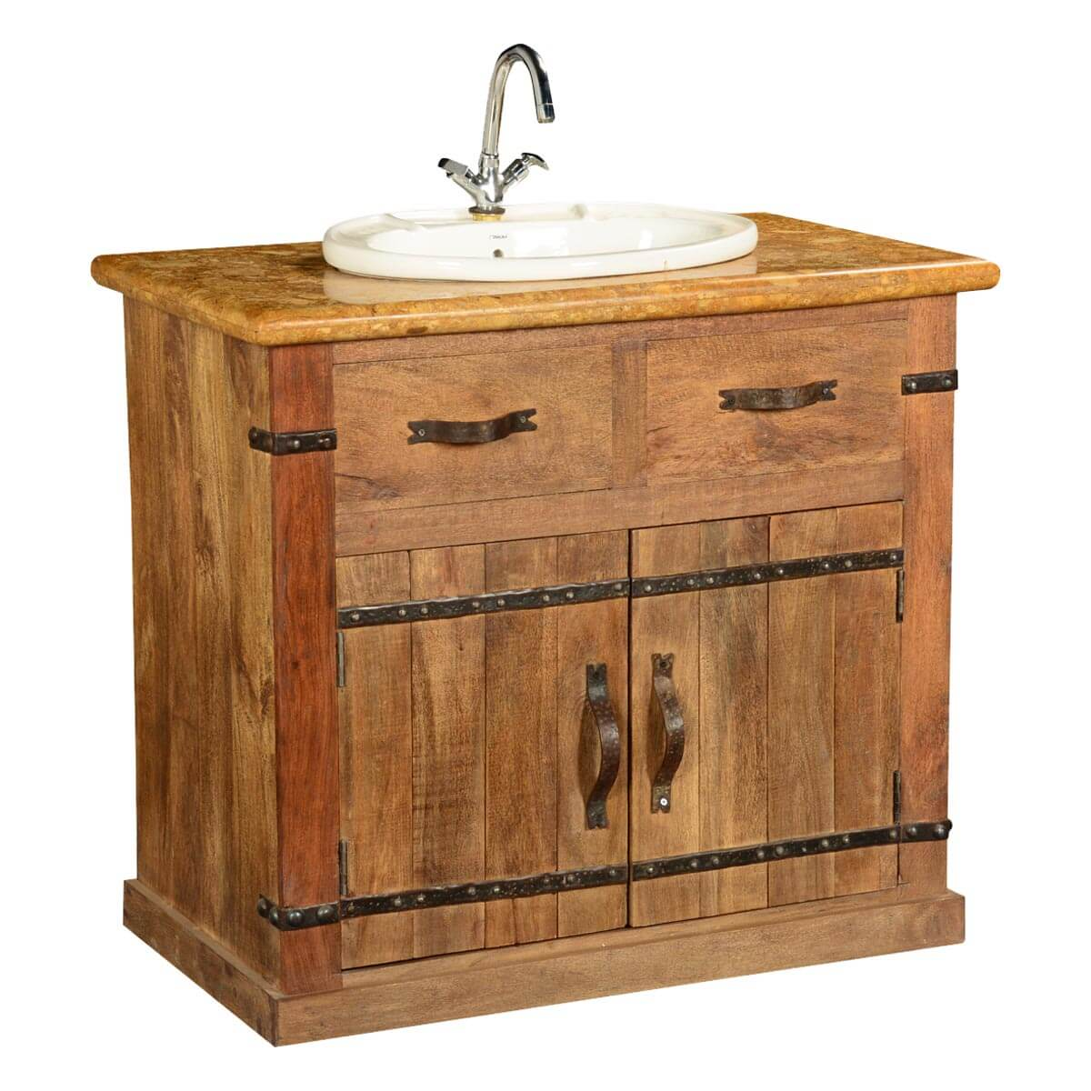 Country Farmhouse Mango Wood Amp Marble Bathroom Vanity Cabinet