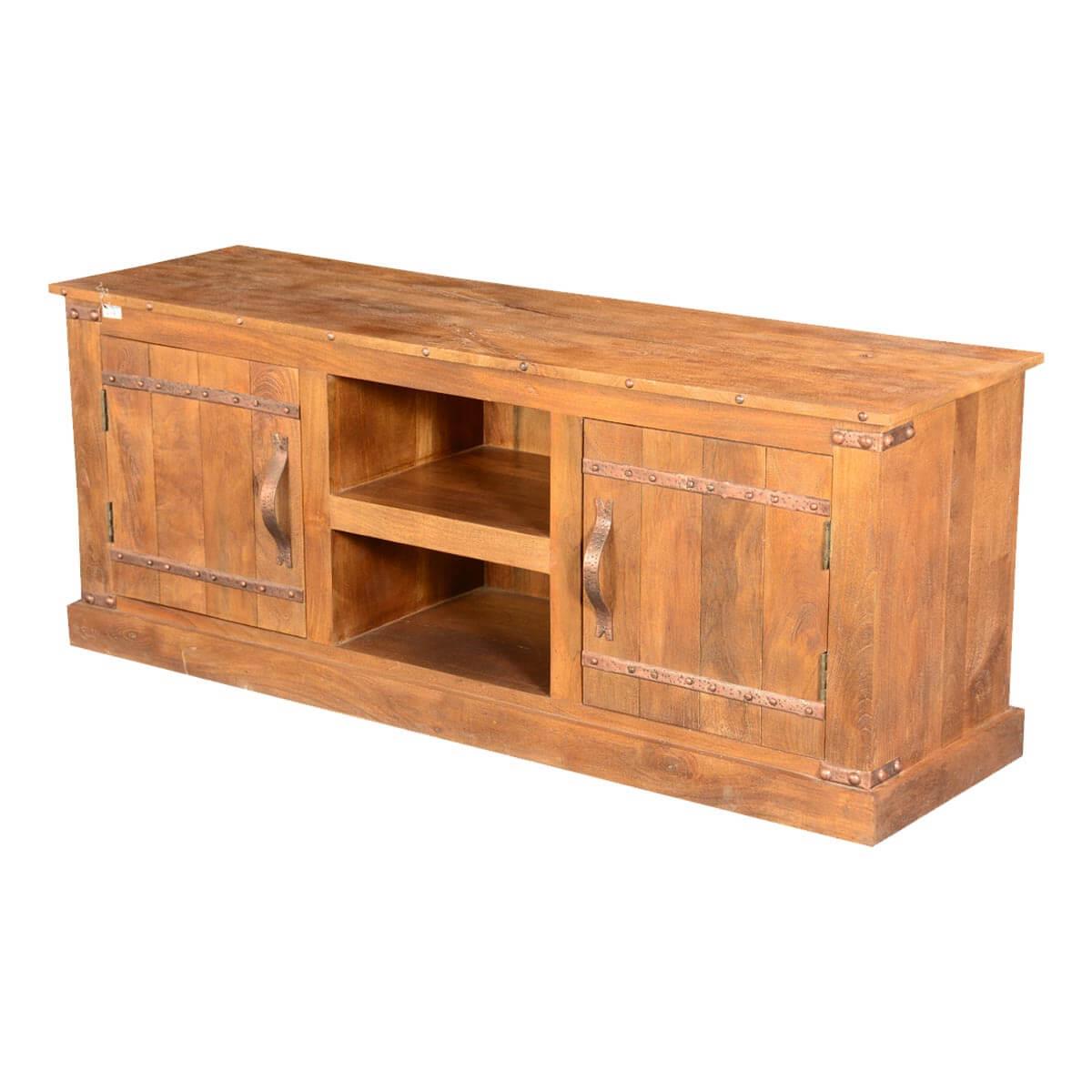 Modern farmhouse rustic solid mango wood tv media console
