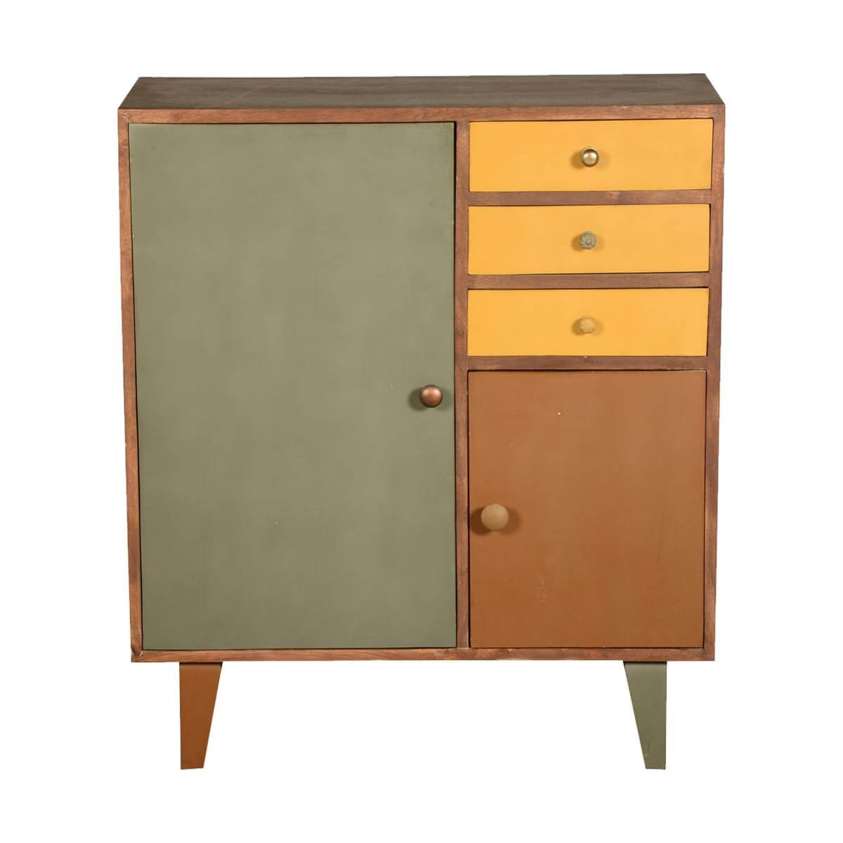 Wood Storage Cabinets: Smyrna 60's Retro Mango Wood 3 Drawer Freestanding Storage