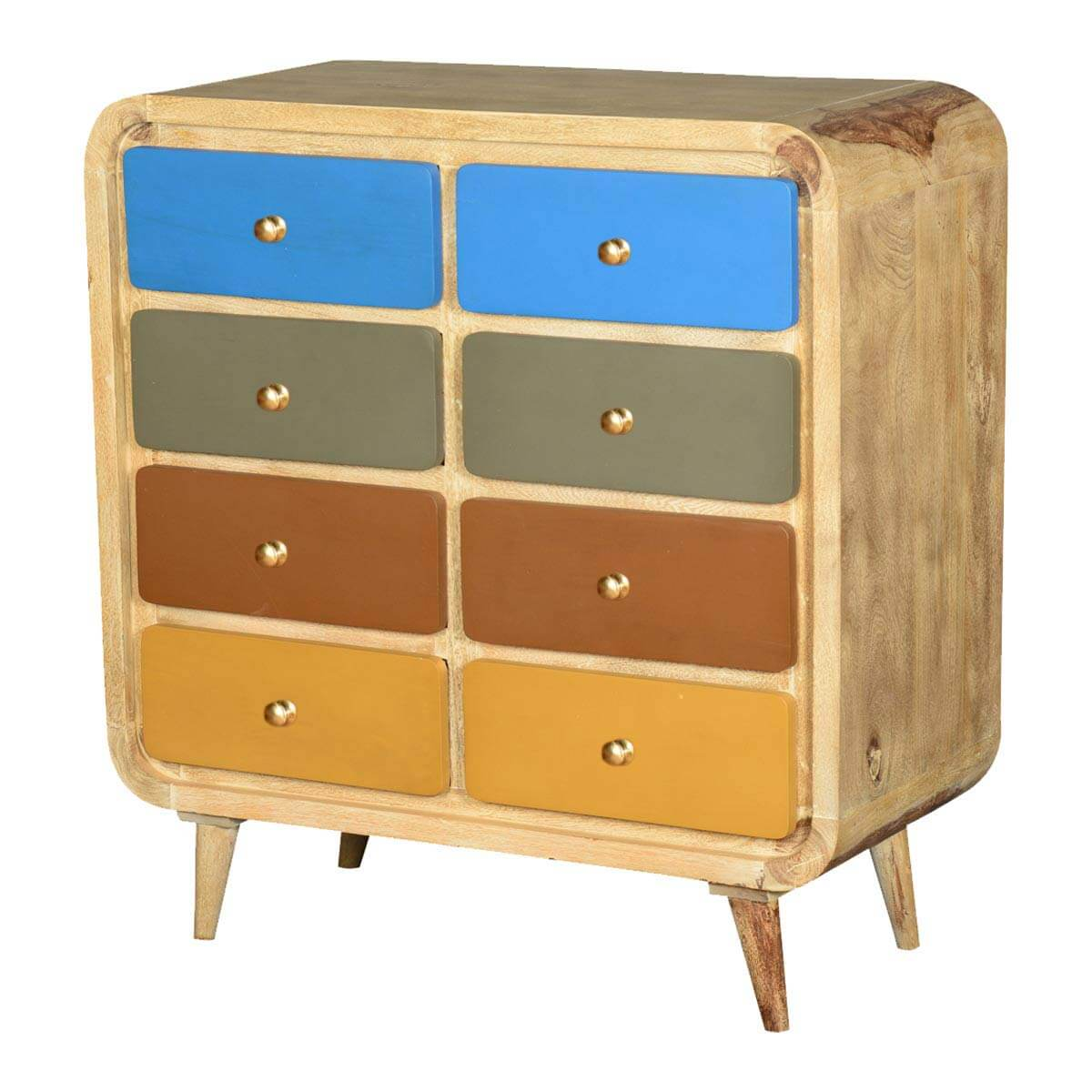 60 S Retro Rounded Corners Solid Wood 8 Drawer Double Dresser
