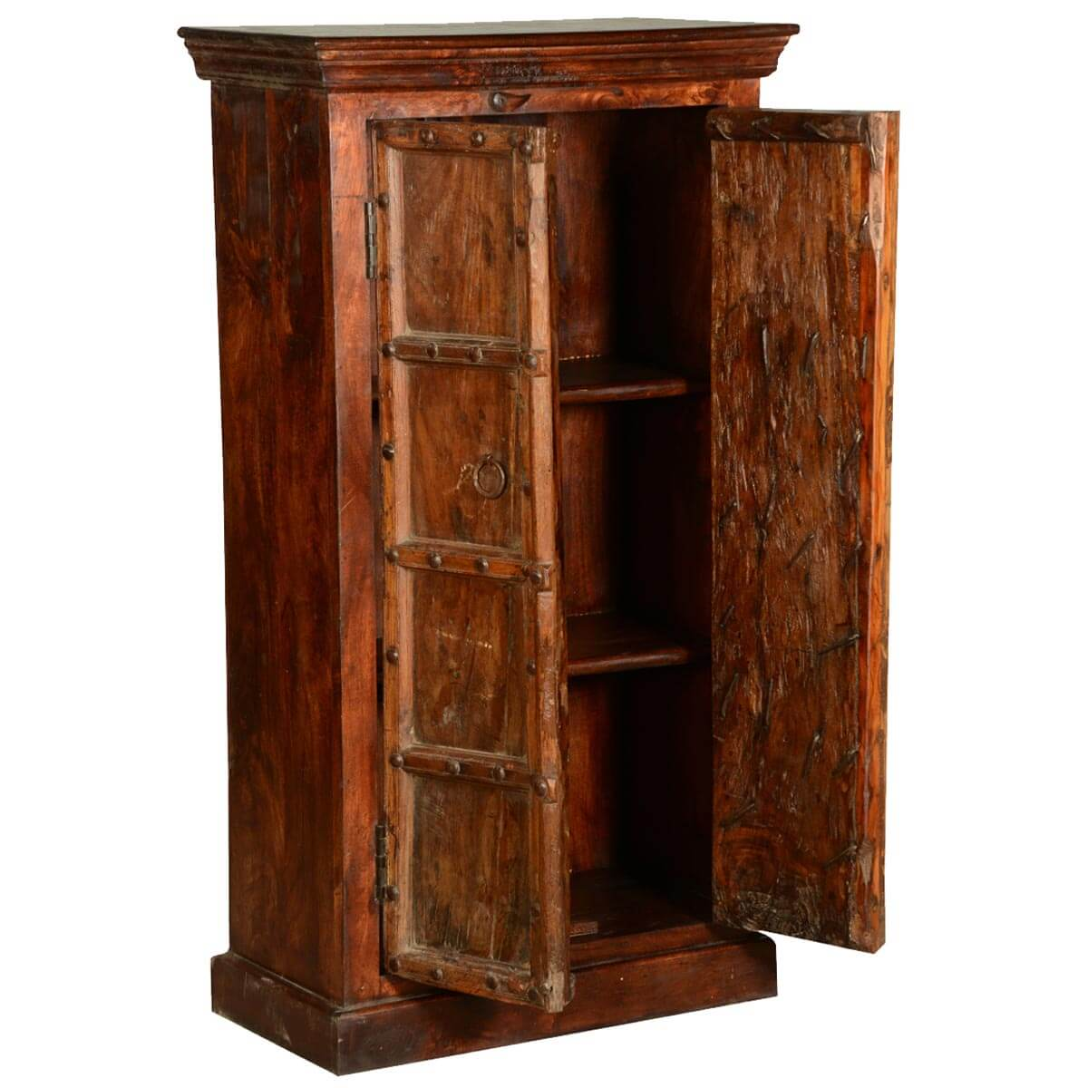 cankton rustic reclaimed wood double door tall storage cabinet. Black Bedroom Furniture Sets. Home Design Ideas