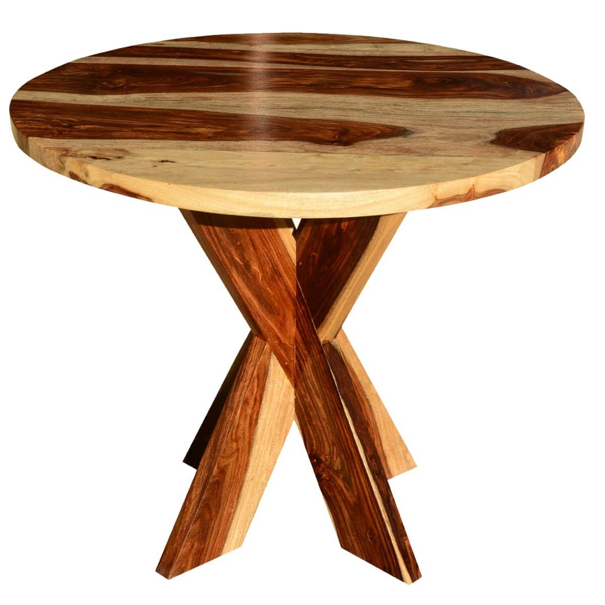 Dallas solid wood x pedestal round dining table for Solid wood round tables dining