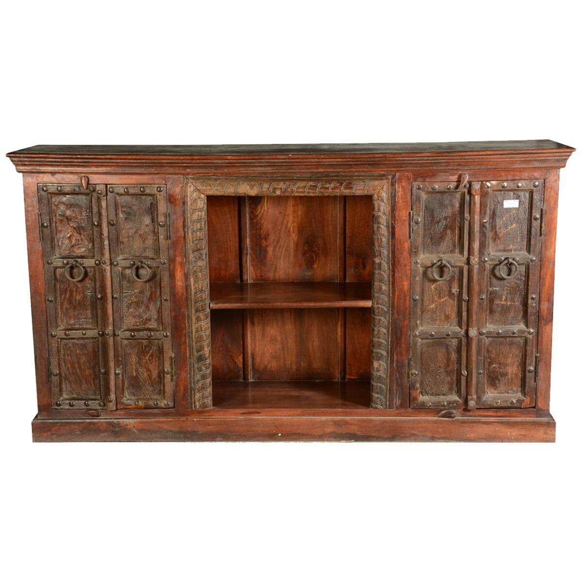 Reclaimed Wood Sideboard ~ Gothic traditional reclaimed wood front display shelves