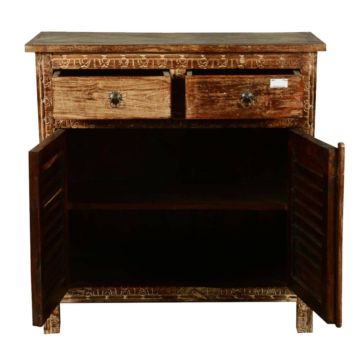 Distressed Reclaimed Wood Hand Carved Accent Cabinet With 2 Drawers