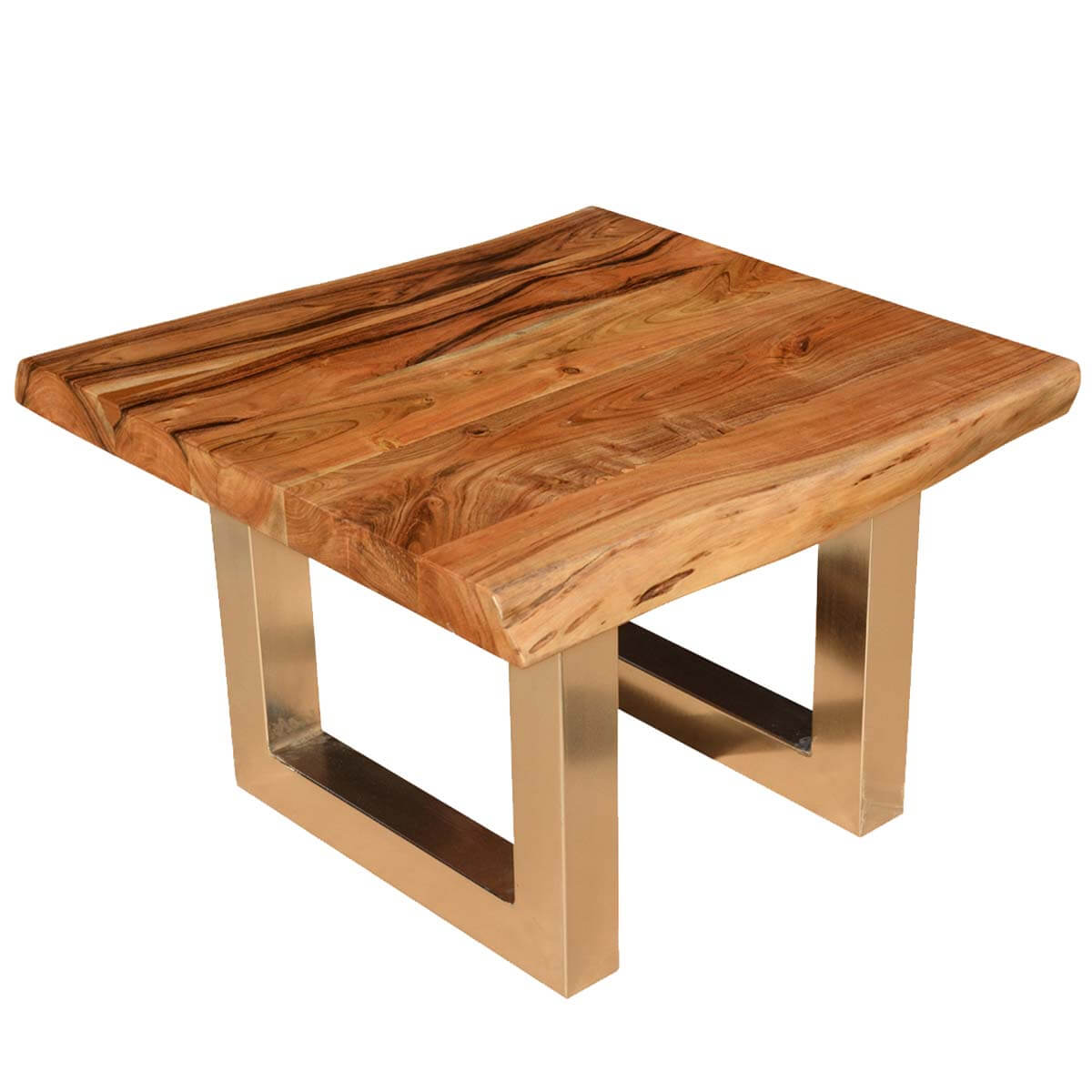 30 Live Edge Coffee Tables That Transform The Living Room: Live Edge Acacia Wood & Iron Contemporary Square Coffee Table