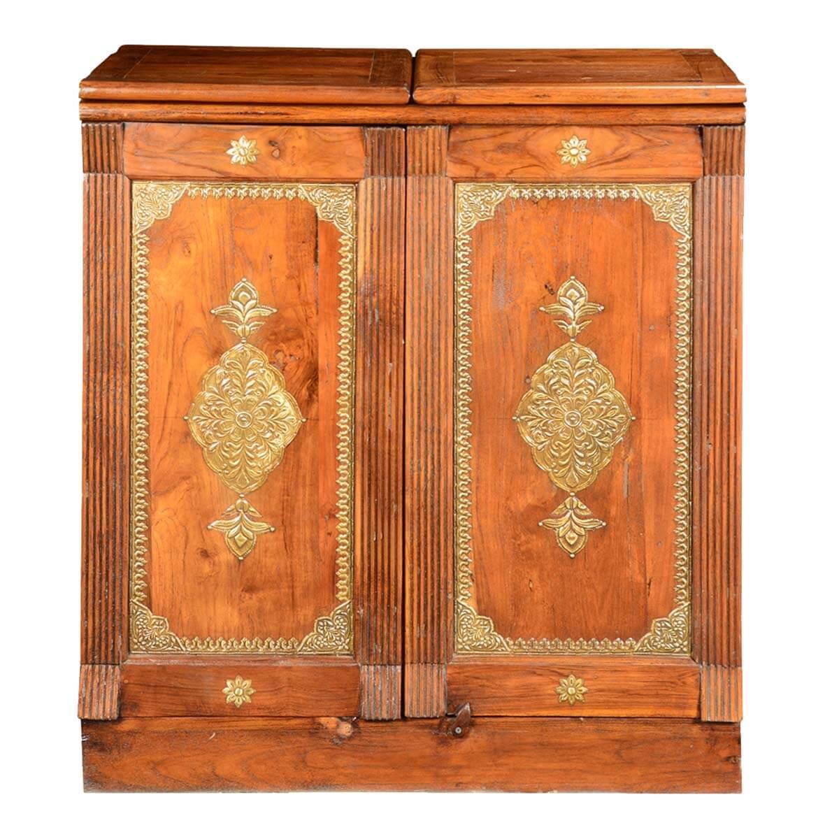 sc 1 st  Sierra Living Concepts & Double Diamond Solid Wood u0026 Brass Expandable Wine Bar Liquor Cabinet