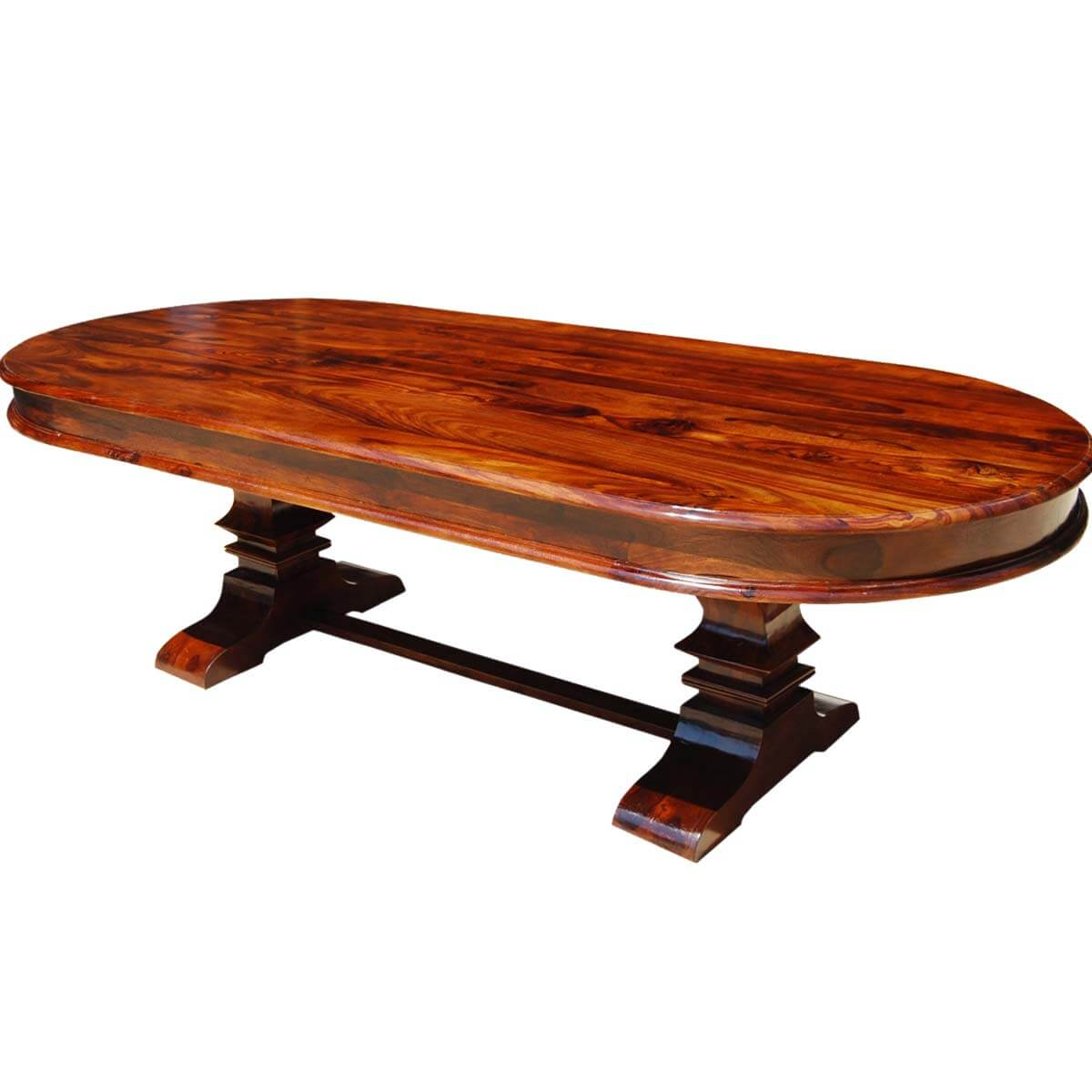 ... Tuscan Trestle Indian Rosewood 104u201d Oval Dining Table ...