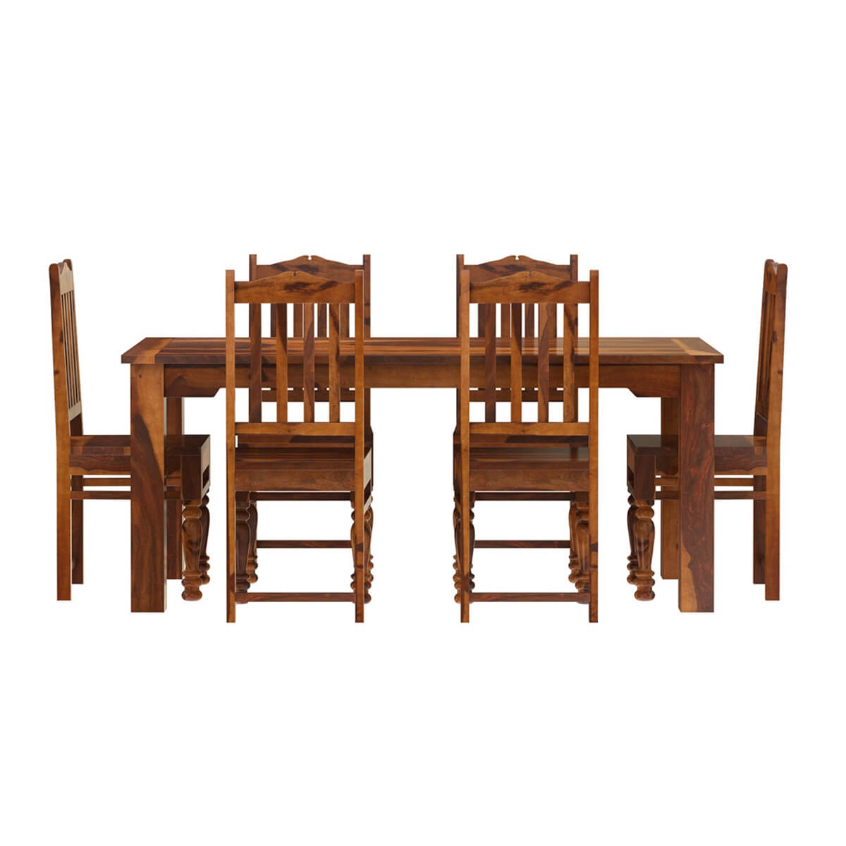 Solid Wood Kitchen Tables: Rustic Solid Wood Dallas Dining Table With Chairs Set