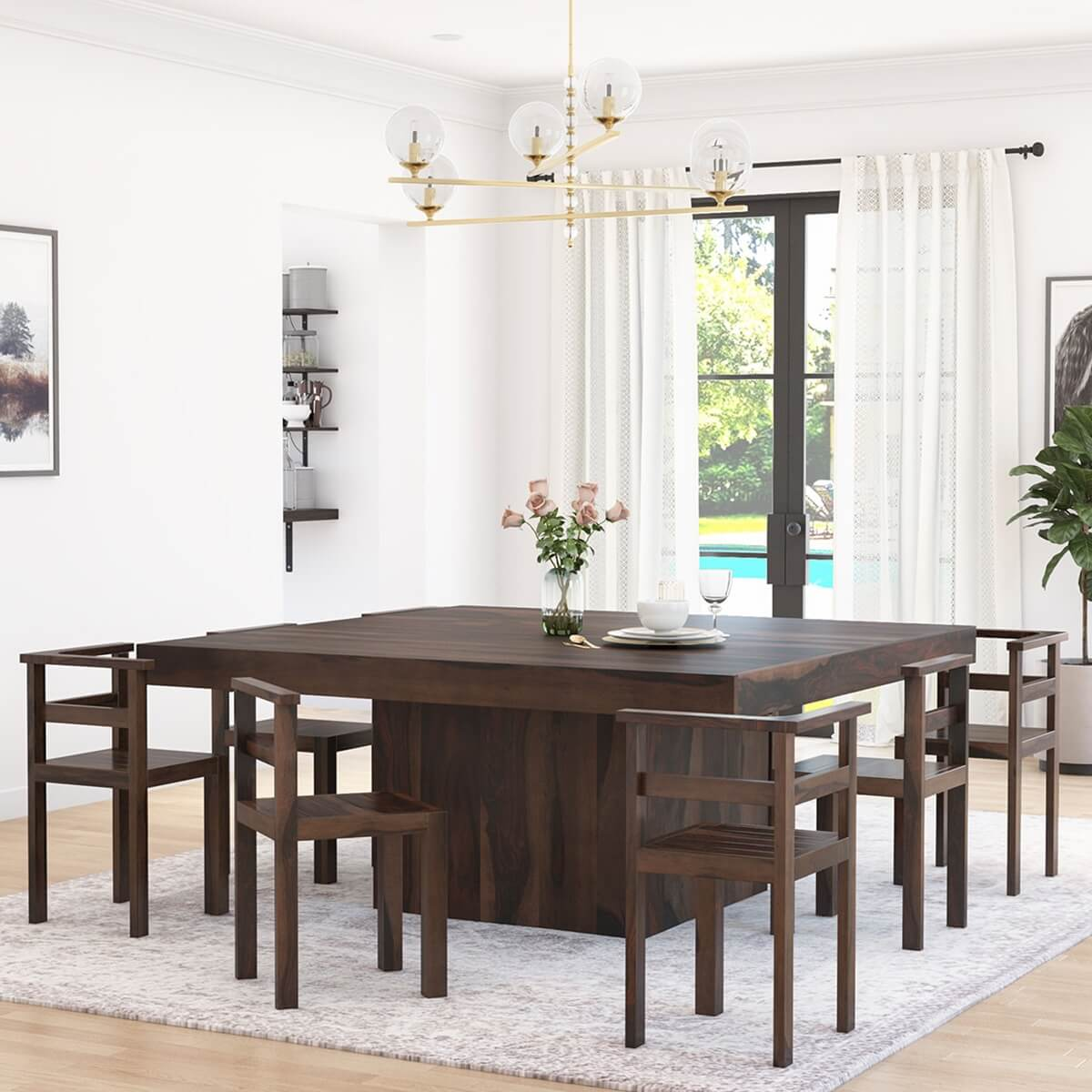 Table With 8 Chairs Set 384900 Modern Rustic Solid Wood 64 Square Pedestal Dining