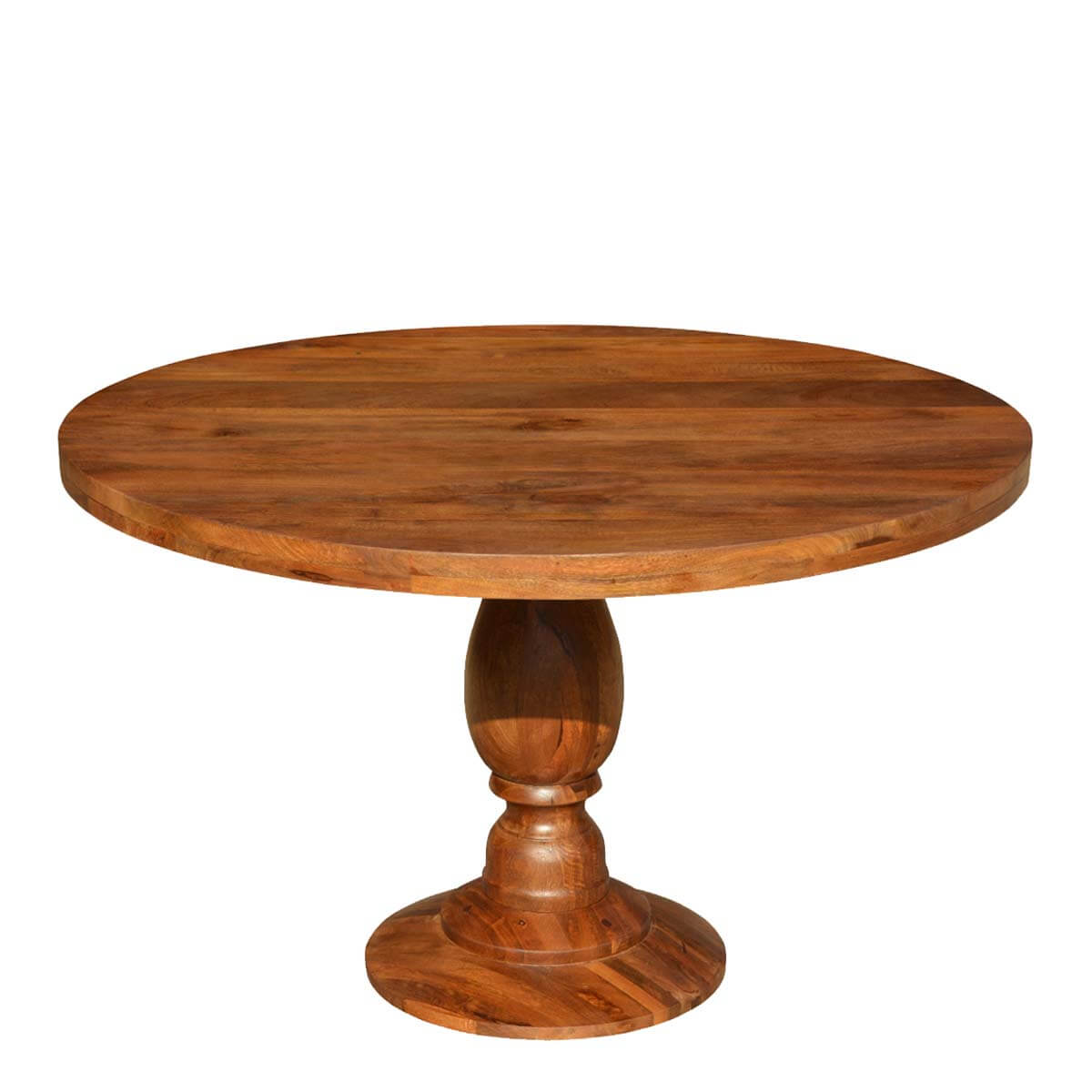 Rustic colonial american solid wood 48 round pedestal for Round pedestal dining table