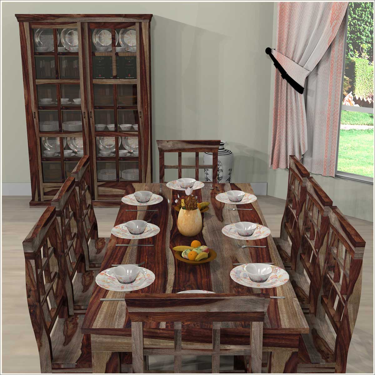 Portland Rustic Dining Room Table Chair Storage Cabinet Set Furniture