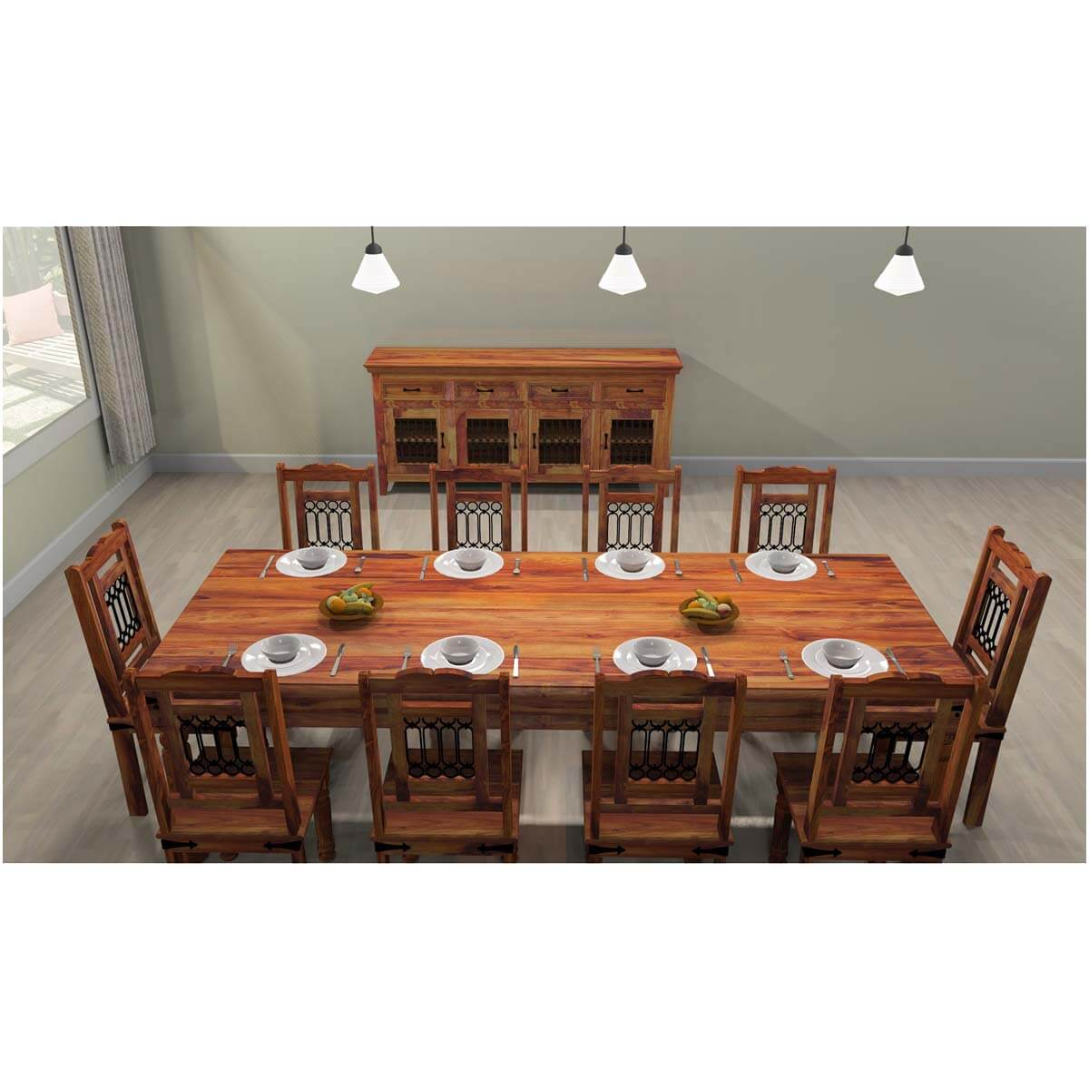 Rustic Solid Wood Large Dining Room Table Chair Set Furniture - Dining room table solid wood