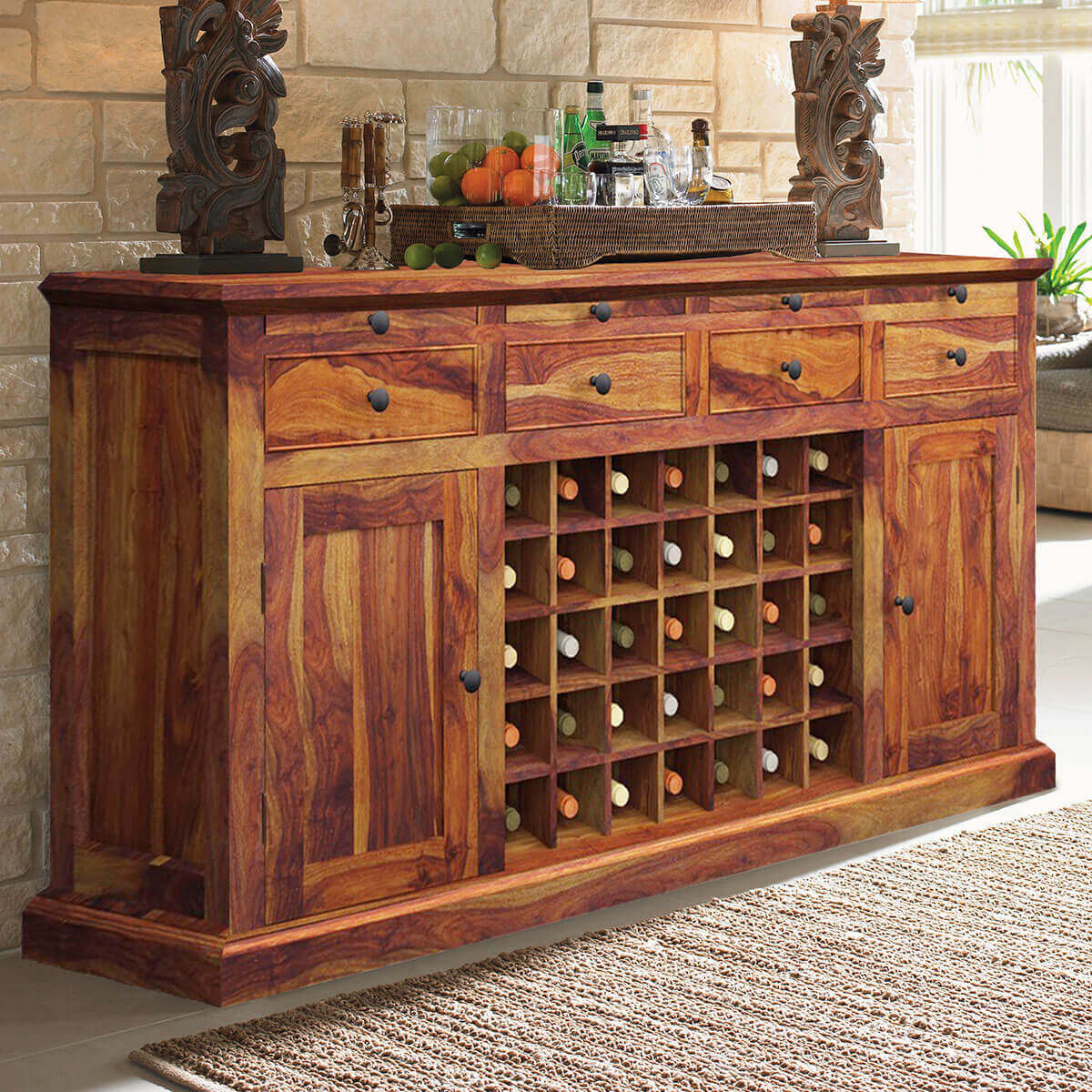 Wood Wine Bar ~ Oenophile dallas ranch solid wood grand wine bar cabinet