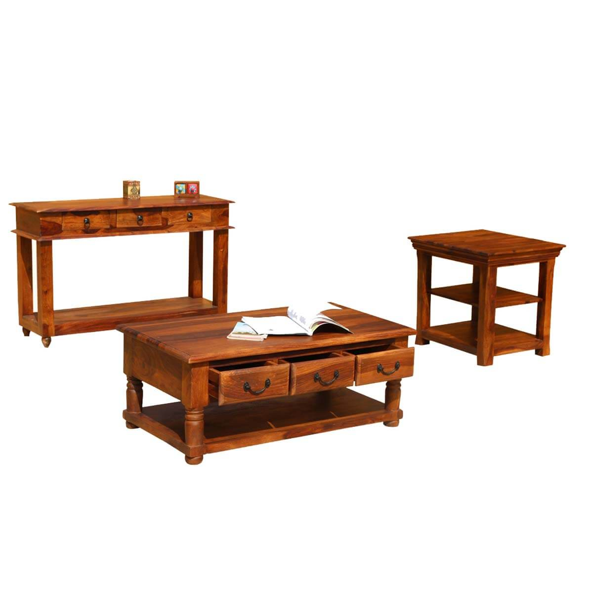 Early American Solid Wood Console Coffee & Accent Table 3pc Set