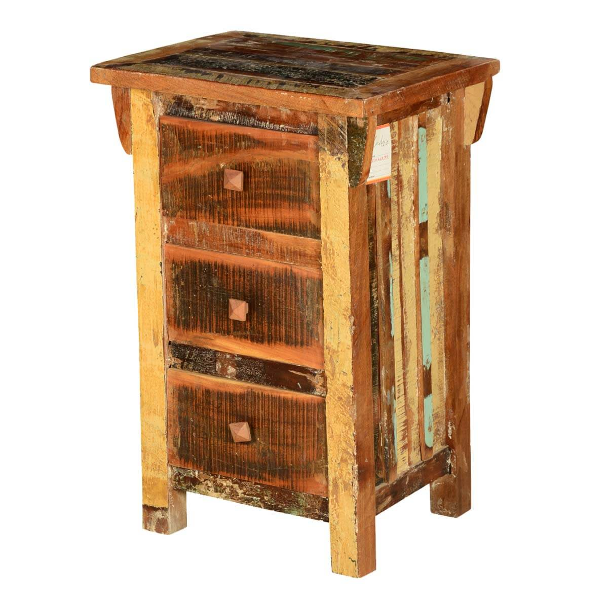 Rustic pioneer reclaimed wood 3 drawer nightstand end table for Rustic wood accent tables