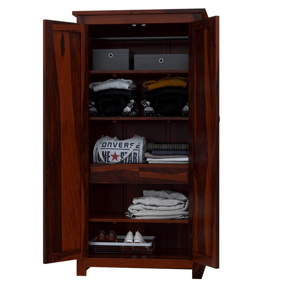Diamond point solid wood quot armoire wardrobe cabinet