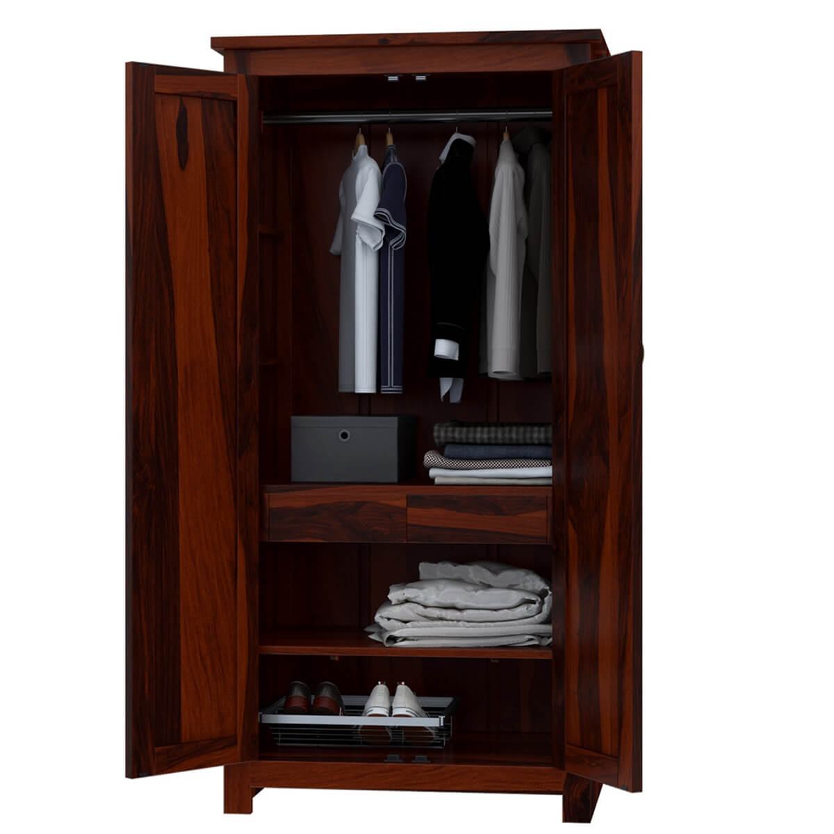 Solid Wood Bedroom Armoire ~ Clatonia pyramid studded solid wood door bedroom armoire