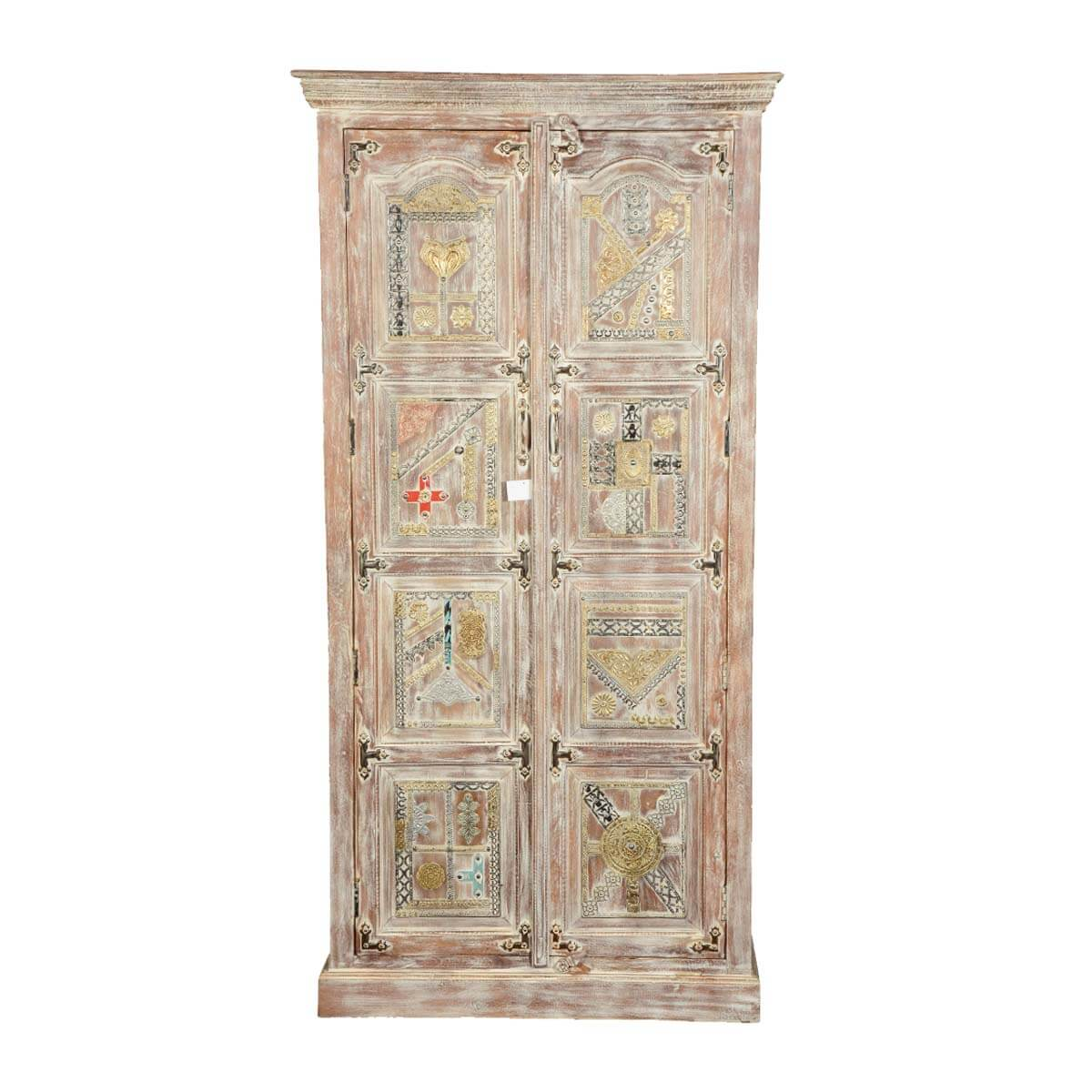 modern mosaic mango wood armoire wardrobe cabinet. Black Bedroom Furniture Sets. Home Design Ideas