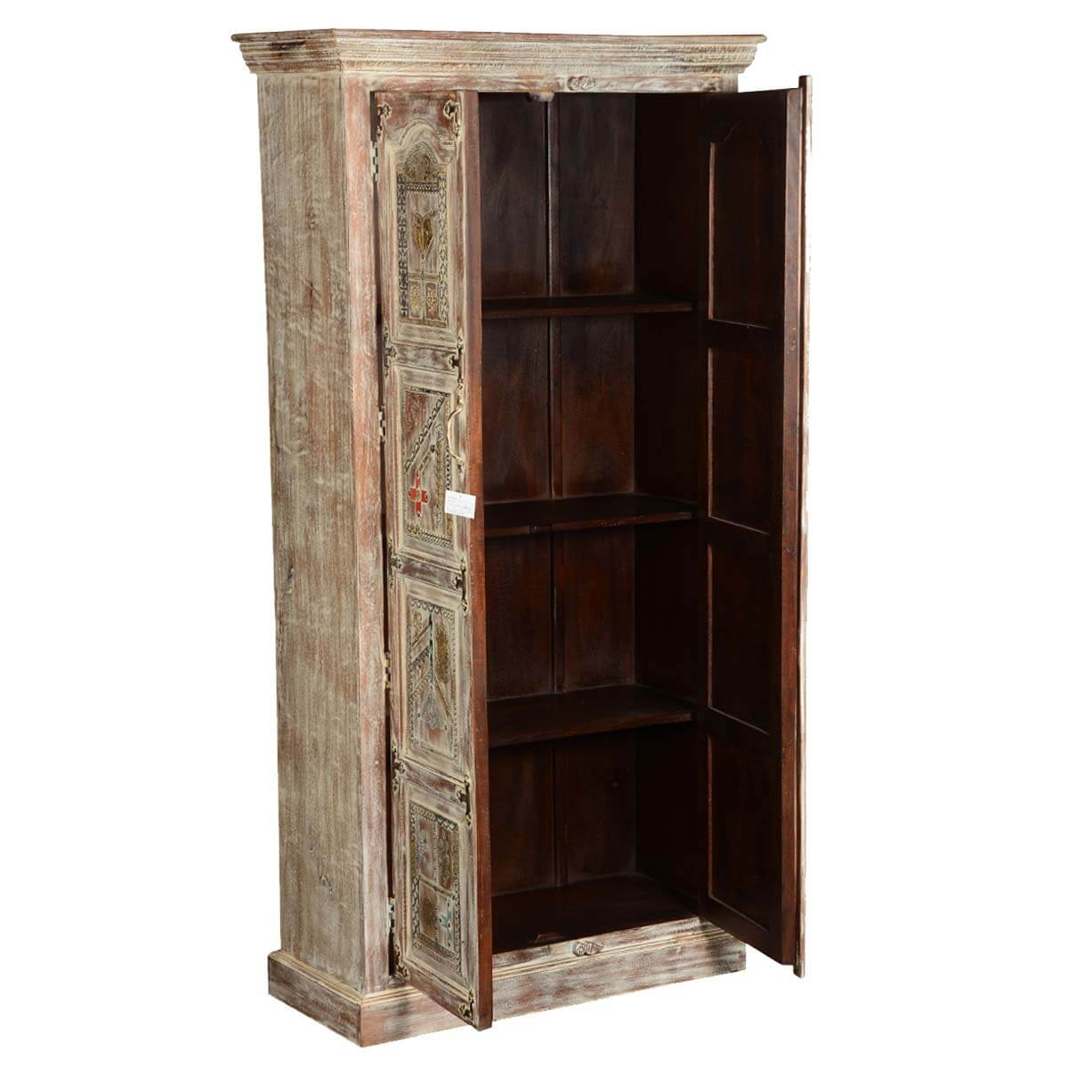 Modern Mosaic Brass Inlay Solid Wood Tall Storage Cabinet