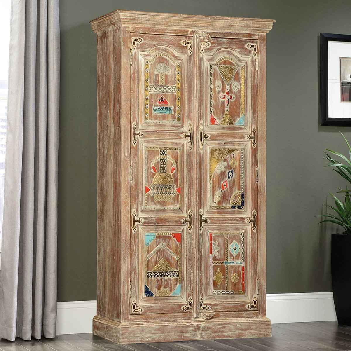 Modern India Mango Wood 59 Wardrobe Armoire Cabinet