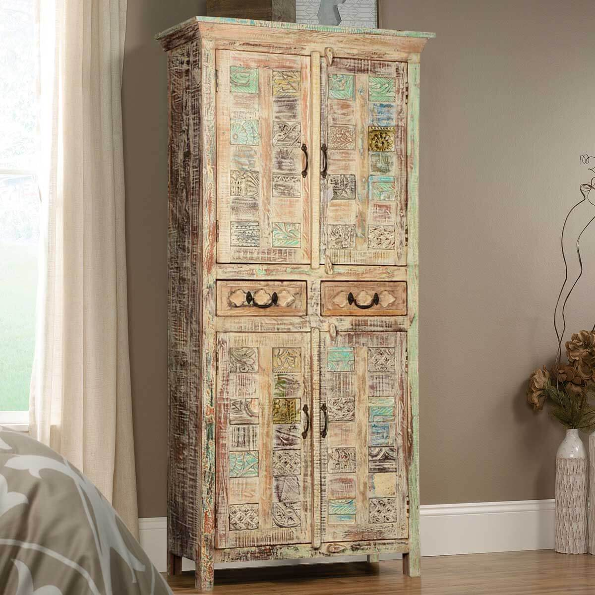 Wooden Patches Mango Wood 70 5 Armoire Wardrobe W Drawers
