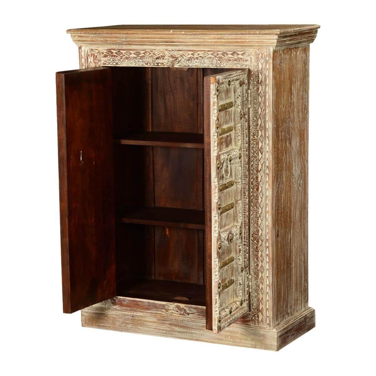 Double Door Cabinet Storage: Gothic Winter Mango Wood Double Door Storage Cabinet
