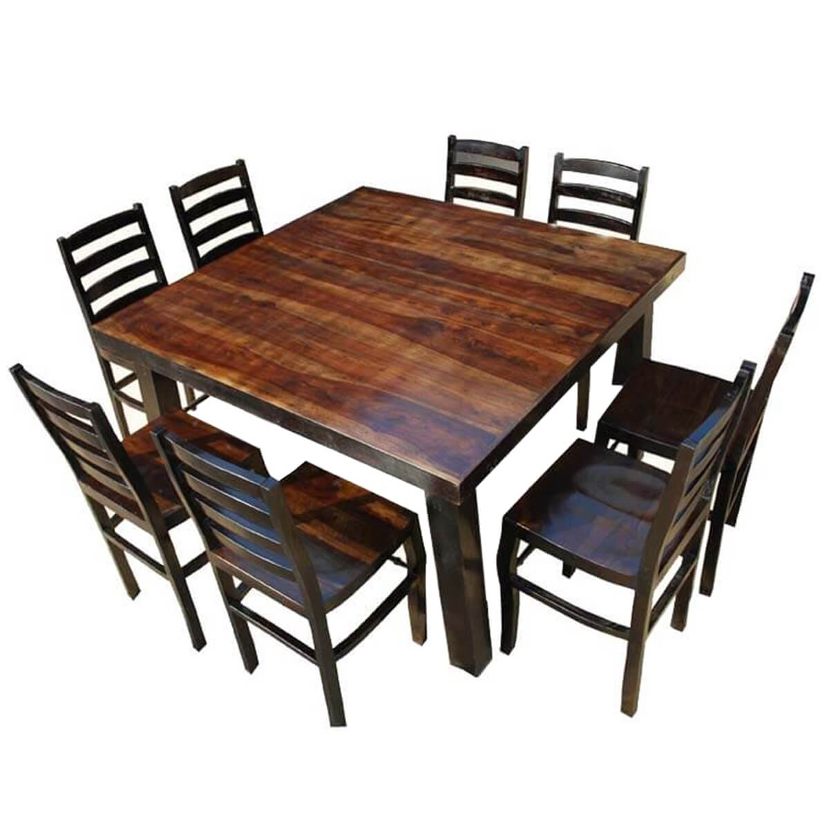 Rustic counter height kansas city square dining set for 8 for Square dinette sets