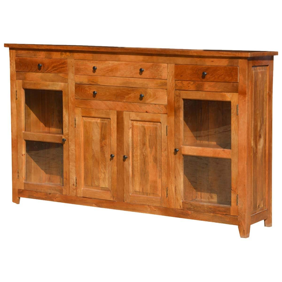 Williamsburg Rustic Mango Wood Glass Door 4 Drawer Sideboard Cabinet