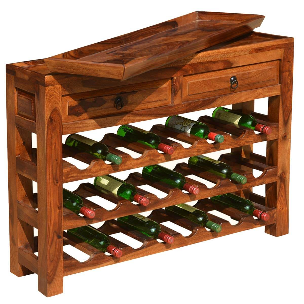 Solid Oak Console Table With Wine Rack Table Designs